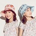 Nova Kenmont Primavera Verão Da Marca Crianças Menina Chapéu de Balde Ao Ar Livre Caps para Crianças Quick-seco Anti-UV Dobrável 6-9Y Azul rosa 4896