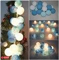 20 BOLA de ALGODÃO luz azul HANDMADE tom Azul + LUZ BRANCA/DECORAÇÃO DO PARTIDO Decoração do casamento de LUZ C-005 #
