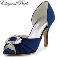 Shoes Woman A2136 Navy Blue Peep Toe High Heel Bridesmaid Pumps Rhinestone Two Piece Satin Evening Prom Wedding Bridal Shoes