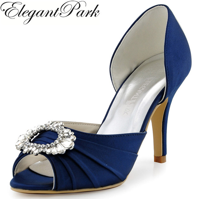 Shoes Woman A2136 Navy Blue Peep Toe High Heel Bridesmaid Pumps Rhinestone  Two Piece Satin Evening Prom Wedding Bridal Shoes 555219b4fcbc