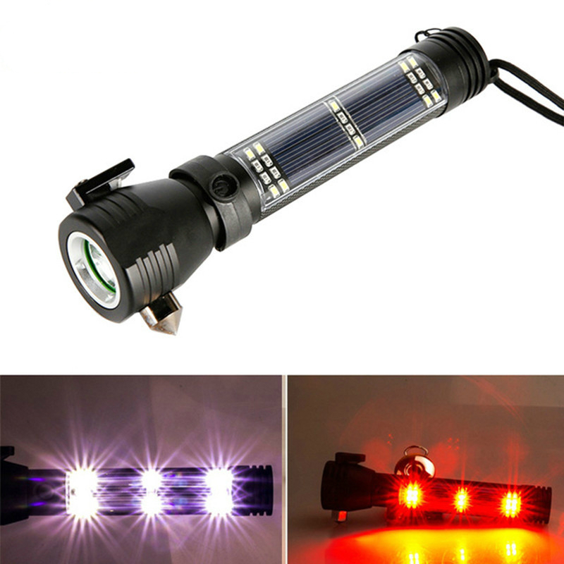 Solar Outdoor LED Flashlight Torch Escape Rescue with Magnet Safety Hammer Compass Rechargeable Flashlights Zoomable Lanterna rechargeable multifunction emergency torch lights usb power bank led solar flashlight with safety hammer compass magnet