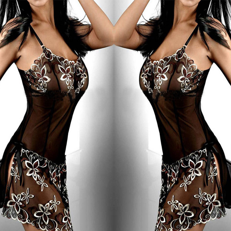 Plus Size M-6XL Womens Lace Floral Slips Perspective Midnight Mesh Nightdress Push Up Bustier Nightgowns Sexy Lingerie Intimates