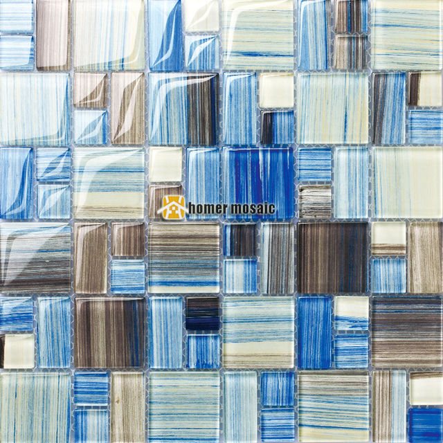Mediterranean Blue Crystal Glass Hand Made Mosaic Tiles HMGM2071 For Kitchen Backsplash Tile Bathroom