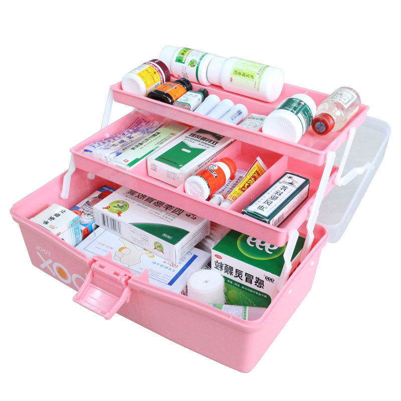 First Aid Emergency Medicine Box Health Care Drug Kit Box Three-Tier Folding Medical Organizer For Family Health Care Pill Box