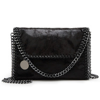 2017 New Style Women Red Black Small Chain Metal Sheets Square PU Leather Shoulder Crossbody Messager
