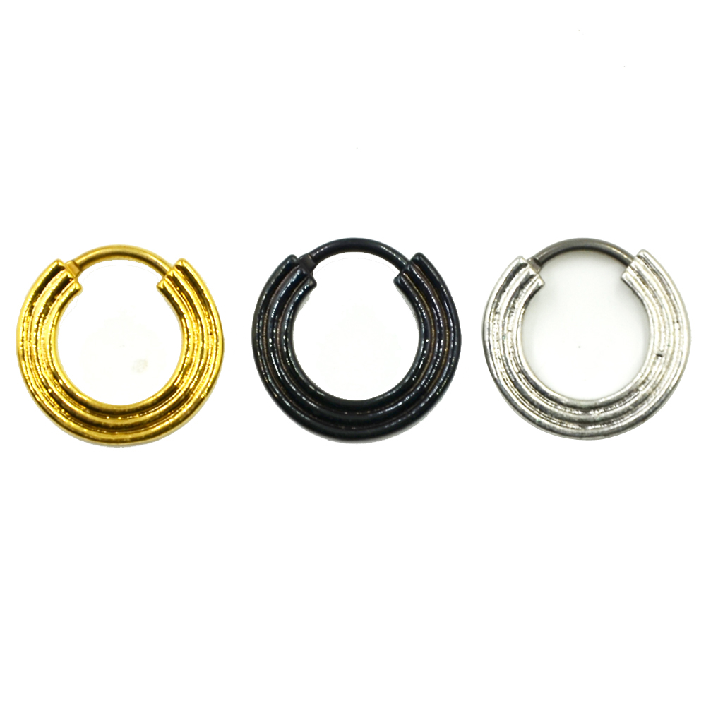 Gold/Silver/Black Titanium Triple Line Nose Septum Clicker Piercing Body Jewelry Retainer Nose Stud Ring Ear Helix кликер пирсинг