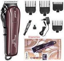 Kemei aparador de cabelo elétrico, barbeador, aparador de cabelo, sem fio, ajustável, com pente de limite