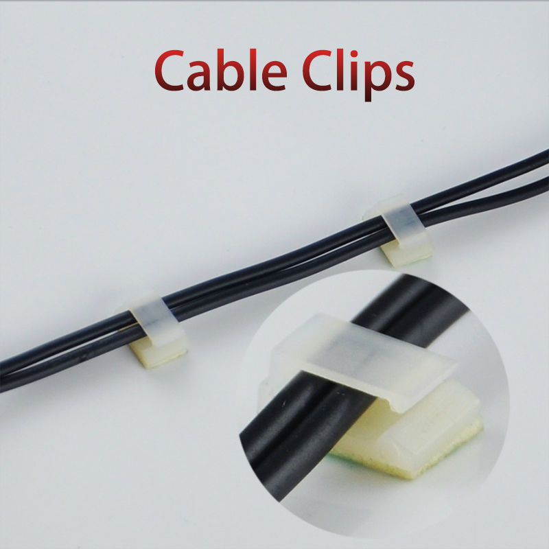 100pcs Cable Clips NC912 Plastic Wire Tie Rectangle Cable Mount Clip Clmp Drop Adhesive Cable Clamp Single Holder Organizer 2017 new 30pcs set car tie clips organizer drop adhesive clamp wire cord clip cable holder