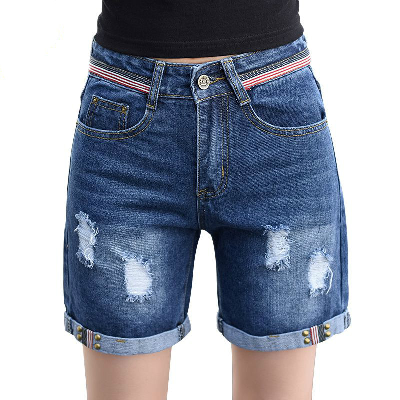 Summer New Loose Corners Denim Shorts Female Students Were High Waist Big Yards Leisure Jean Shorts