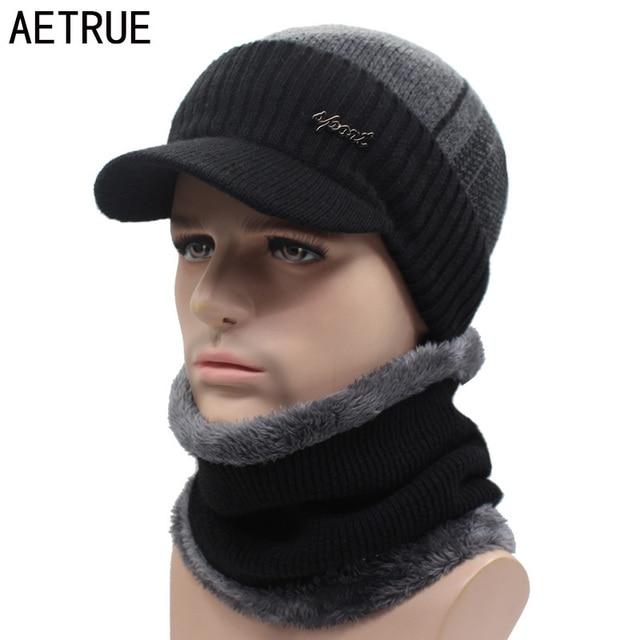 AETRUE Winter Hats Skullies Beanies Hat Winter Beanies For Men Women Wool Scarf Caps Balaclava Mask Gorras Bonnet Knitted Hat