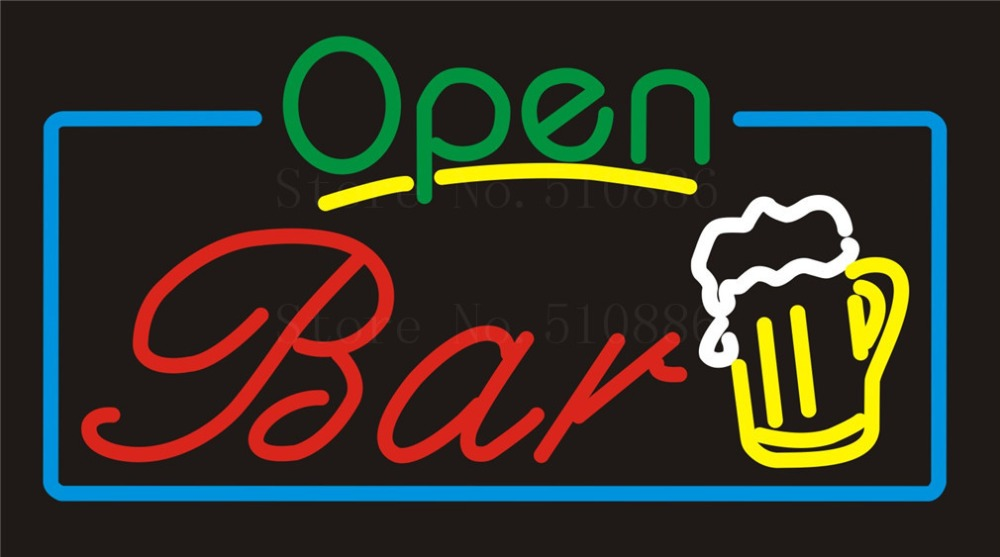 NEON SIGN For Open Bar Wine  Real GLASS Tube Beer PUB Restaurant Signboard store display Decorate Store Shop Light Signs 17*14  цены