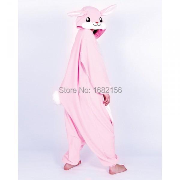 49405158a6 Kigurumi Unisex Adult Onesie Animal Kawaii Pink Rabbit Pajamas Fleece Onesie  Cartoon Cosplay Costumes Sleepsuit S XL-in Anime Costumes from Novelty ...