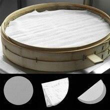 8 размеров круглый антипригарный силиконовый пароварочный коврик белый Dim Sum бумажный домашний ресторанный пароварки коврик кухонные инструменты для приготовления пищи