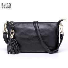 BRIGGS Brand Tassel Women's Shoulder Bags Genuine Leather Women Crossbody Bag Lady Cross Body Bag Cowhide Ladies Clutch Bag  недорого
