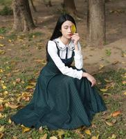 Free Shipping Retro Style Good Quality Peter Pan Collar Fake Two Pieces Grids Printing Tie Long Sleeve Woman Long Dress