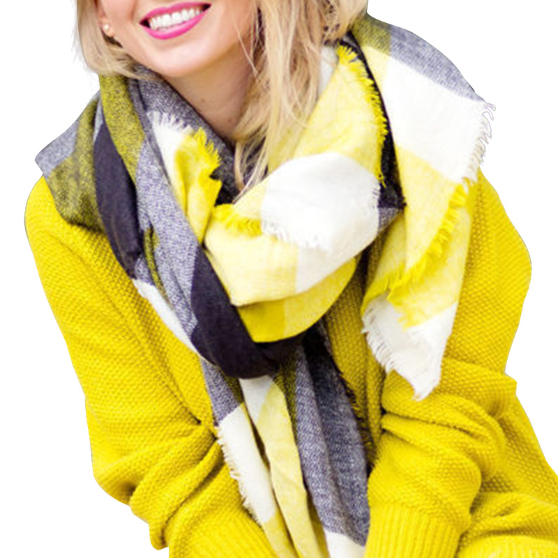 Desigual Scarf Women ZA Winter 2016 font b Tartan b font Scarf Yellow Gray Plaid Scarf