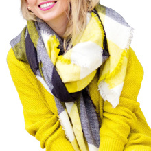 Desigual Scarf Women ZA Winter 2016 Tartan Scarf Yellow Gray Plaid Scarf New Design Unisex Acrylic Basic Shawls Women's Scarves