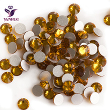 2028NoHF Topaz Color Crystals All Sizes SS3,4,5,6,8,10,12,16,20,30,34 Non Hotfix Strass Nail Rhinestones for Clothes