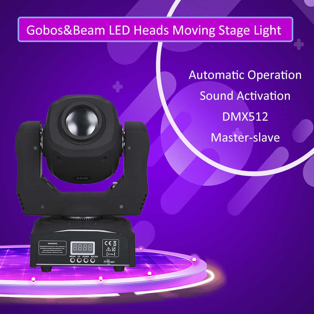 Auto-Run 60W Suara Pesta Lampu Moving Head Disco DJ 9/11 Channel Mini LED Lampu Panggung 8 gobos RGBW DMX512 Beam Lampu Sorot