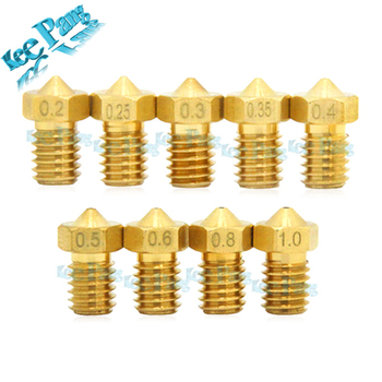 5PCS 3D Printer Parts Threaded Nozzle 0.2/0.25/0.3/0.35/0.4mm/0.5/0.6/0.8/1.0 1.75mm Filament For V5/V6 Extruder Part M6