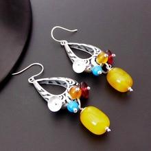 Hot Sales 925 Sterling Silver Earrings for Women Brincos Big Yellow Gems Crystal Drop Dangle Earrings Accessorie Wedding Jewelry