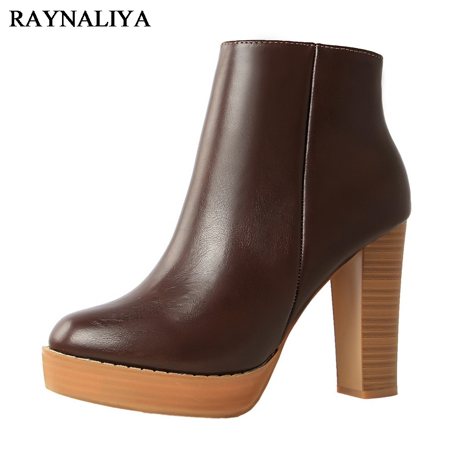 Winter Women Boots Fashion Thick High Heels Boots Autumn Ankle Boots For Ladies Shoes Zipper Round Toe Black Shoes DS-A0129 enmayla autumn winter chelsea ankle boots for women faux suede square toe high heels shoes woman chunky heels boots khaki black