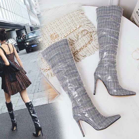 Scène Grande Talons noir Hot Femmes Pointu Rouge Minces De En plaid Des Mi Bottes mollet Bout Soie Sexy Chaussures Transparent Taille BBPwqxa