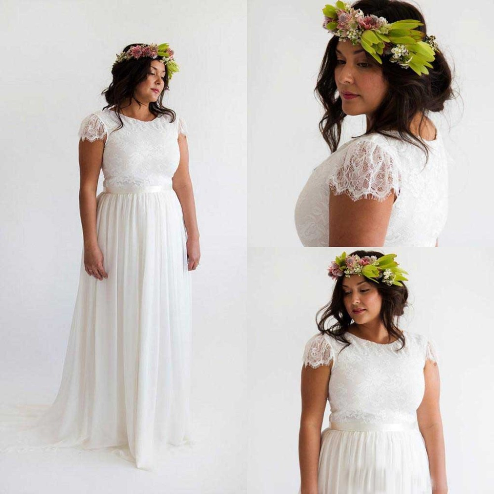 Short Sleeve Lace Wedding Dresses 2016 Chiffon Simple: Elegant Boho Long Wedding Dress 2016 Bohemia Chiffon O