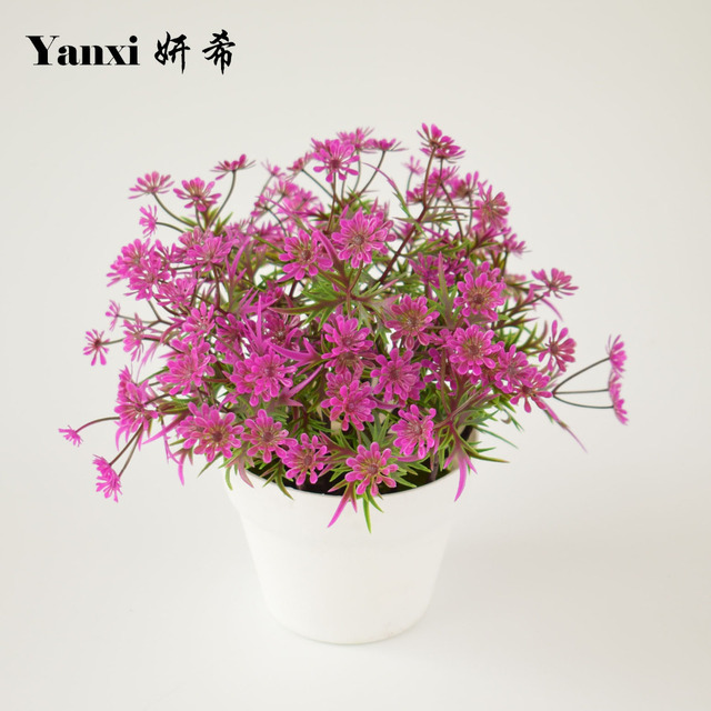 Artificial flowers plants with white vase set flower bonsai for home ...