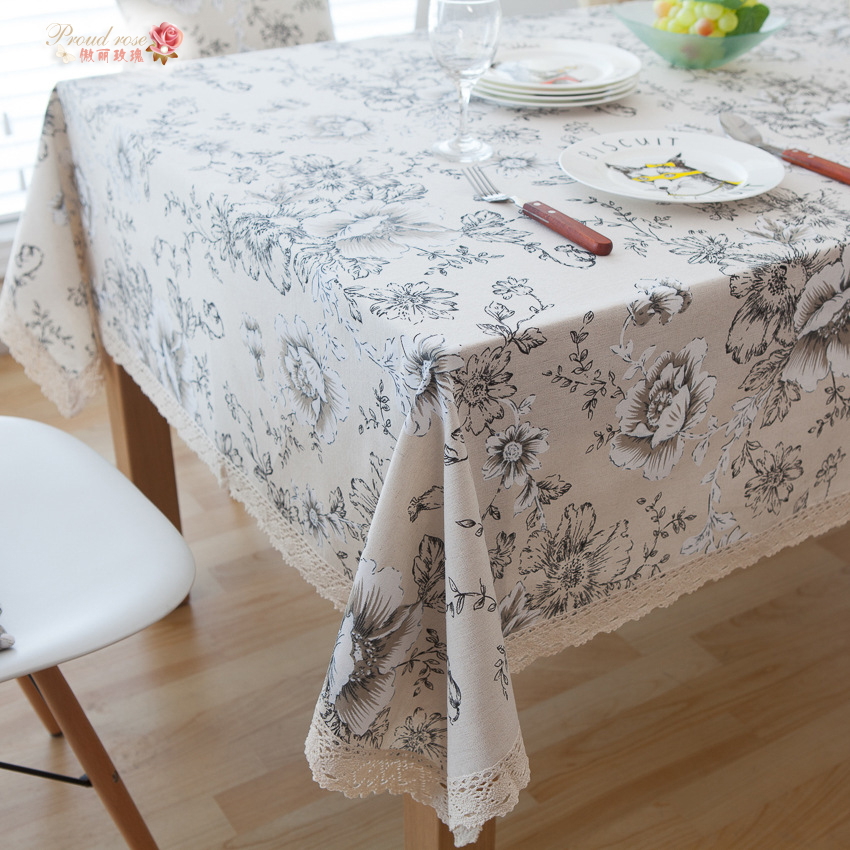 1 Piece American Country White Peony Cotton And Linen Table Cloth/ Retro  Tea Table Cloth