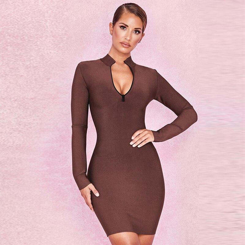 2018 mode à manches longues brun Bandage robe de haute qualité femmes Sexy profonde col en V moulante Stretch Club robes de soirée en gros