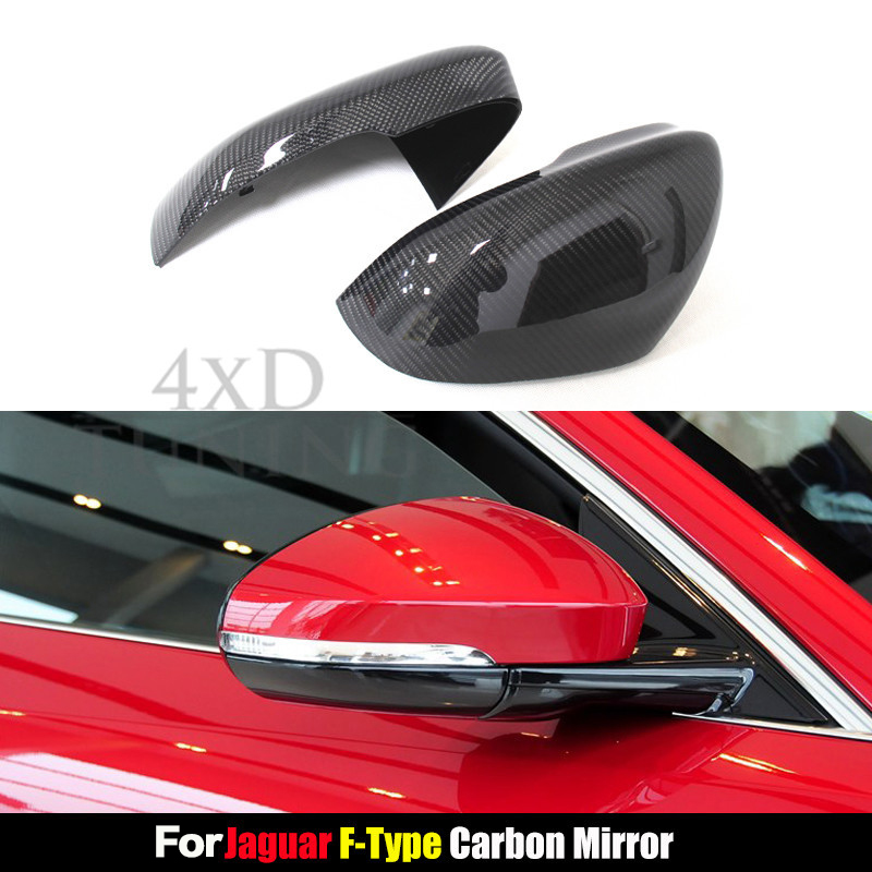 For Jaguar F-Type Carbon Fiber Rear View Mirror Cover Side Mirroor 2010 2011 2012 2013 2014 Add on Style Glassy Black Finish full replacement carbon fiber car side mirror for 2010 2011 2012 2013 2014 2015 vw cc
