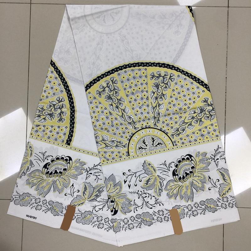 TN White Flower Pattern Fashion Ankara Design Block Printed Veritable Mosaic Gold African wax for Nigerian