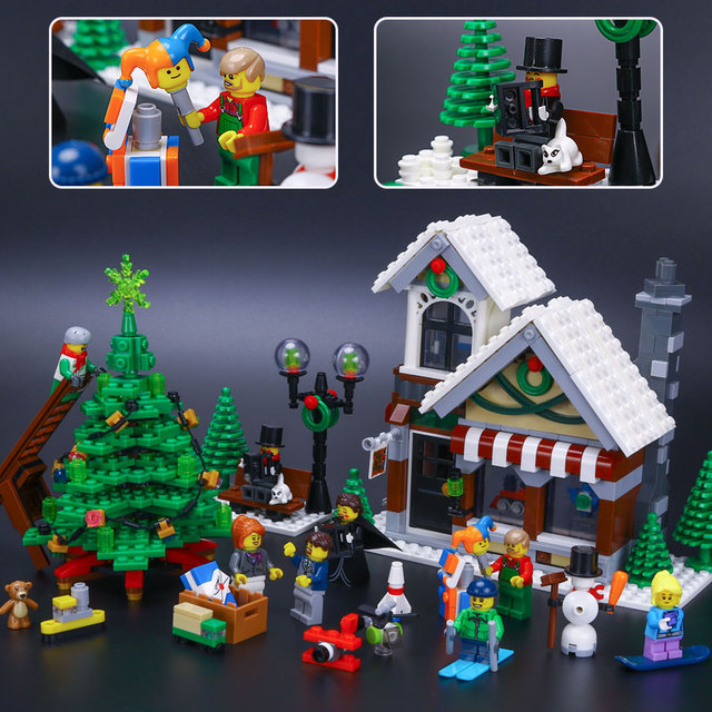 Winter Toy Shop Village Set Caroler 1412pcs Lepin Chrismas Gift Compatible  With Lego 10249 Building Blocks