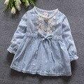Новый 2016 весна осень цветок младенцы девушки платье симпатичные полосатый новорожденный девушка платье принцессы костюм 0 ~ 12 месяц одежда для девочек
