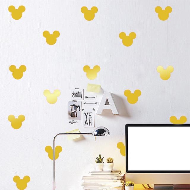 12 pcs/set DIY Mickey Mouse Sticker Wall Decals Kids Children Room Decoration Vinyl Wall Art Stickers