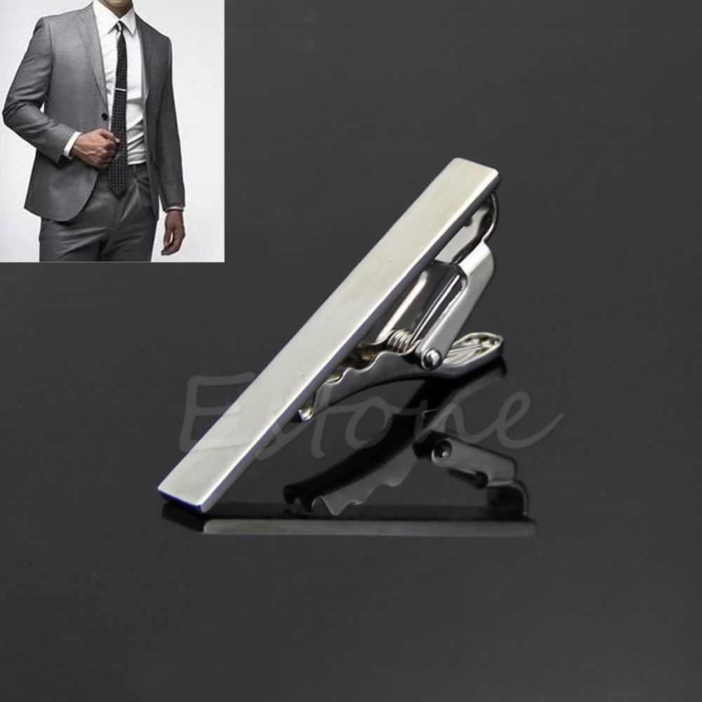 卸売メンズメタルシルバートーンシンプルなネクタイネクタイバークラスプクリップクランプピン F05