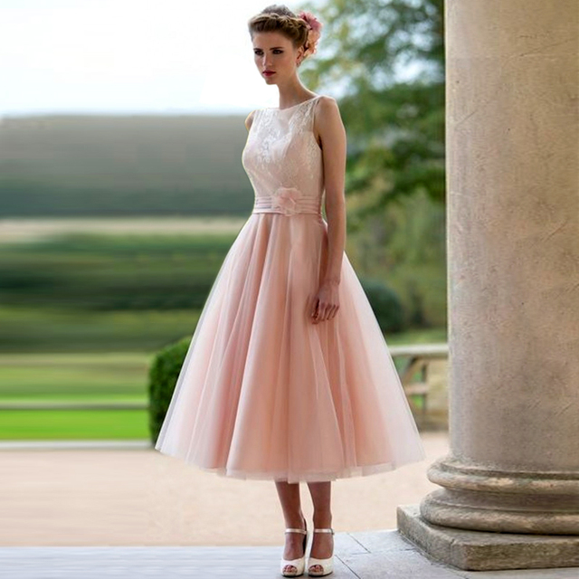 Elegant Pink Lace Bridesmaid Dresses 2017 Boat Neck Tea Length Wedding  Guests Formal Party Dresses