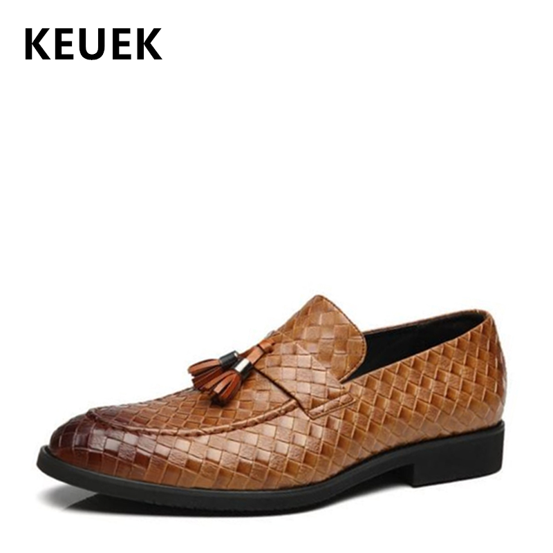 New Arrival Men Dress shoes Fashion Pointed Toe Tassel Leather shoes Casual Slip On Flats Male