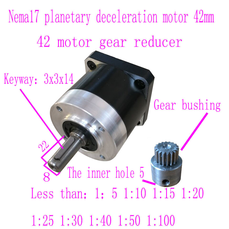 NEMA17 Stepper step Motor planetary reducer 42 Brush Brushless motor Gearbox reducer high quality 5n m 42 42 119 7mm brushless dc motor with planetary gearbox reduction ratio 104 8