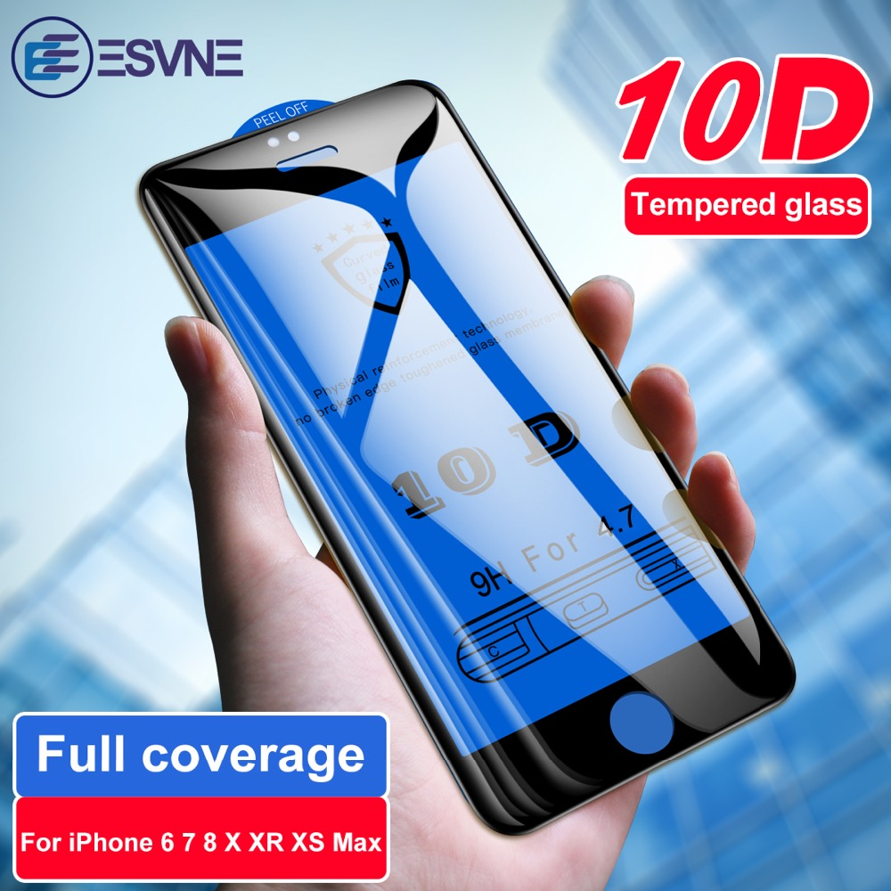 ESVNE 10D Tempered Protective Glass on iPhone 6 7 glass 6s 8 Plus Full Cover for X XR XS Max Screen Protector film