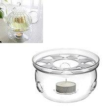 1 шт., портативный держатель для чайника, подставка для кофе, воды, чая, теплее, подсвечник, прозрачное стекло, жаростойкий чайник, теплее, изоляционная база