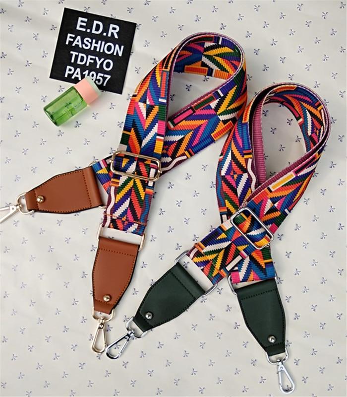Mode coloré rayure sac sangle pour sac à bandoulière ceinture de remplacement sac pièce accessoire sac partie réglable ceinture contraste couleur