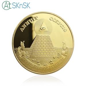 Image 2 - 10 sztuk/partia pozłacane pamiątkowe monety piramidę majów Regalia amerykański jednym okiem otwartym, pamiątkowe monety kolekcje prezenty 40*3mm