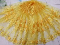 5yard multicolor 3D flowers with beads Embroidery wedding dress alencon lace fabric french lace guipure lace fabric
