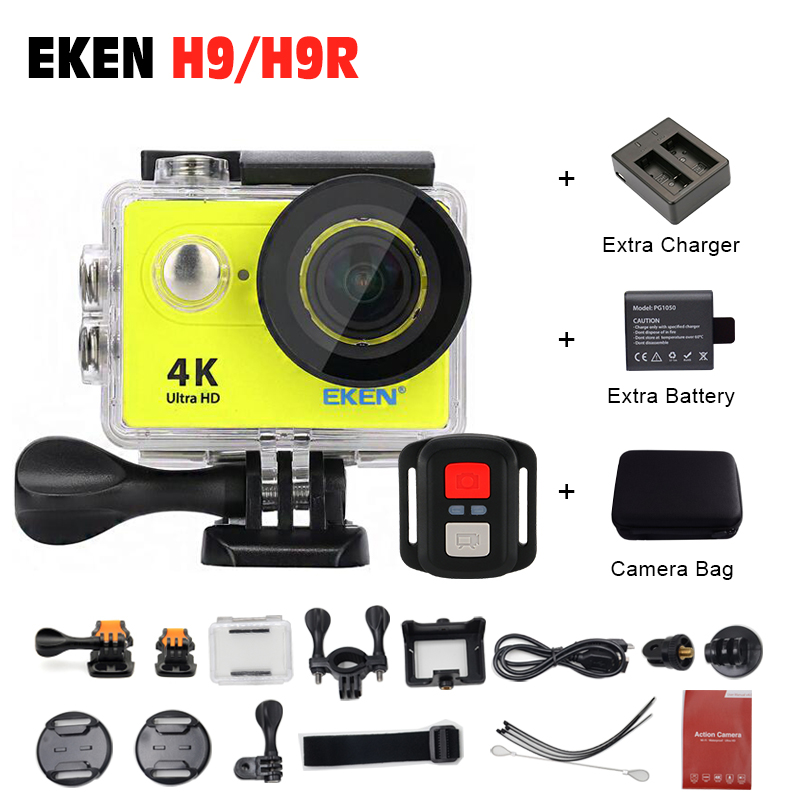 Battery+Dual Charger+Bag ! Action camera EKEN H9 H9R 4K Ultra hd sports cam 1080P/60fps 4 K 170D pro waterproof go Remote Camera 7 lcd rearview mirror rearview camera parking sensor radar kit dc 12v