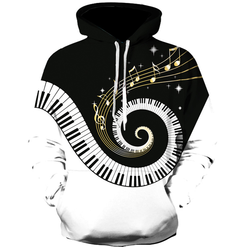 New Trend Men Hoodies Piano Music Printed Funny Graphic Sweatshirt Men And Women Loose Fit Autumn Clothes Harajuku Hip Hop