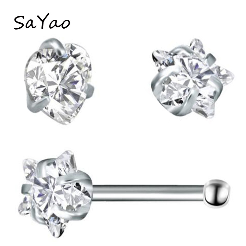 2Piece 20Gx7x3mm Clear Star Zircon Nose Ring Stud Rings Silver Piercing Stars Tragus Ear Piercing Earring Nose Nail Body Jewelry