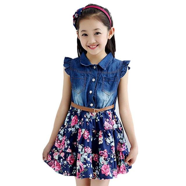 Baby Girl Denim Dress 2016 Children Sleeveless Summer Style Kids Princess Flower Dress Cotton Flower Printed