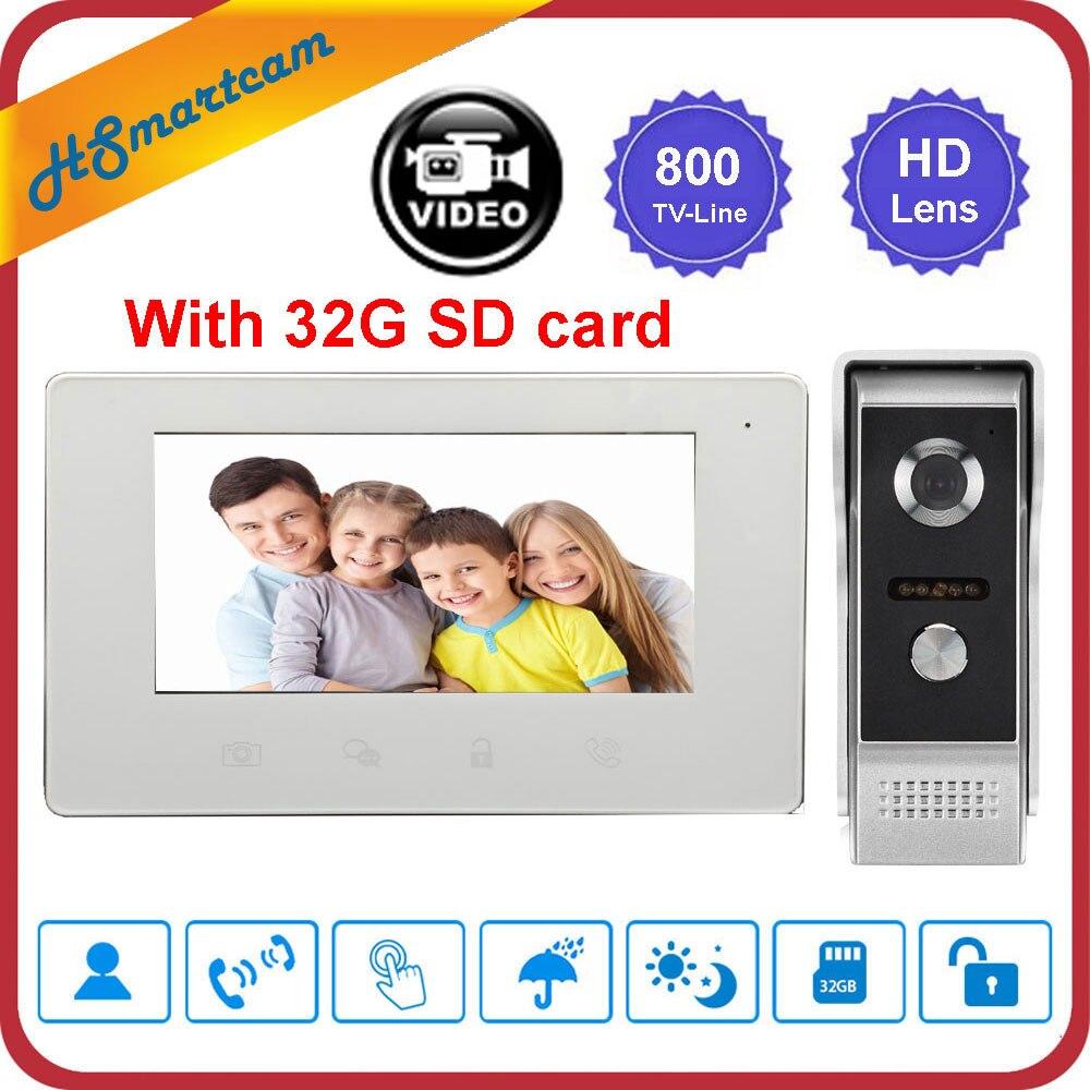New 7 inch Video Doorbell Intercom System 800TVL IR Night Vision Camera Door Bell Video Recorder Intercom Doorphone +32G SD card|Video Intercom| |  - title=